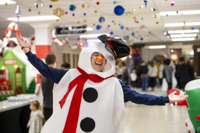 Student dressed in a snowman outfit