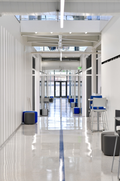 Interior picture of a hallway in the UCO STEM building