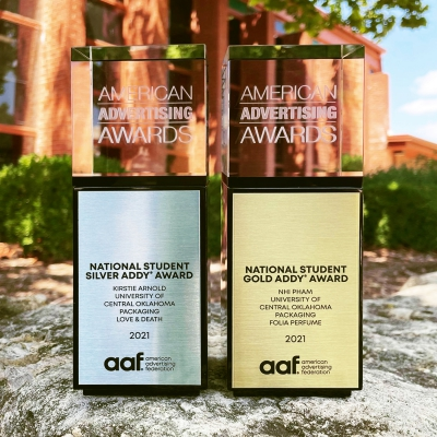 Two trophies from the national ADDY awards