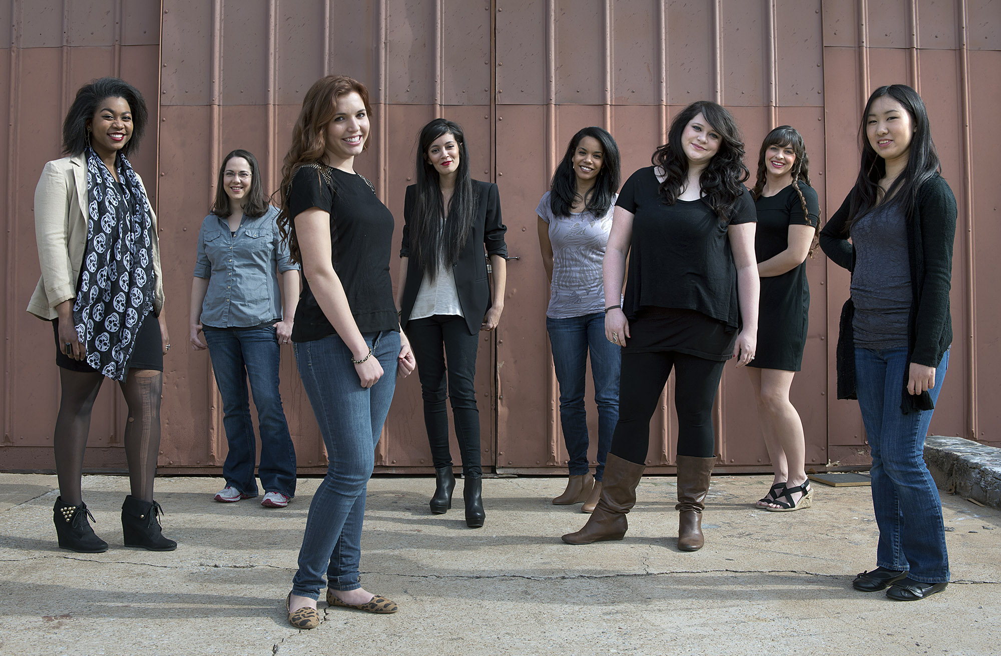 "The UCO College of Fine Arts and Design will present the play ""Anton in Show Business"" Feb. 7–10 at UCO's Mitchell Hall Theater.  Actors in the show include (from left to right) Aishe Watley as ""T-Anne,"" Dina Peek as ""Casey,"" Hayley Durham as ""Lisabette,"" Margarita Davis as ""Holly,"" Shellie Sterling as ""Kate,"" Kelsey Fisher as ""Wikewitch,"" Rachel Messer as ""Ben,"" and Megumi Katayama as ""Joby."""