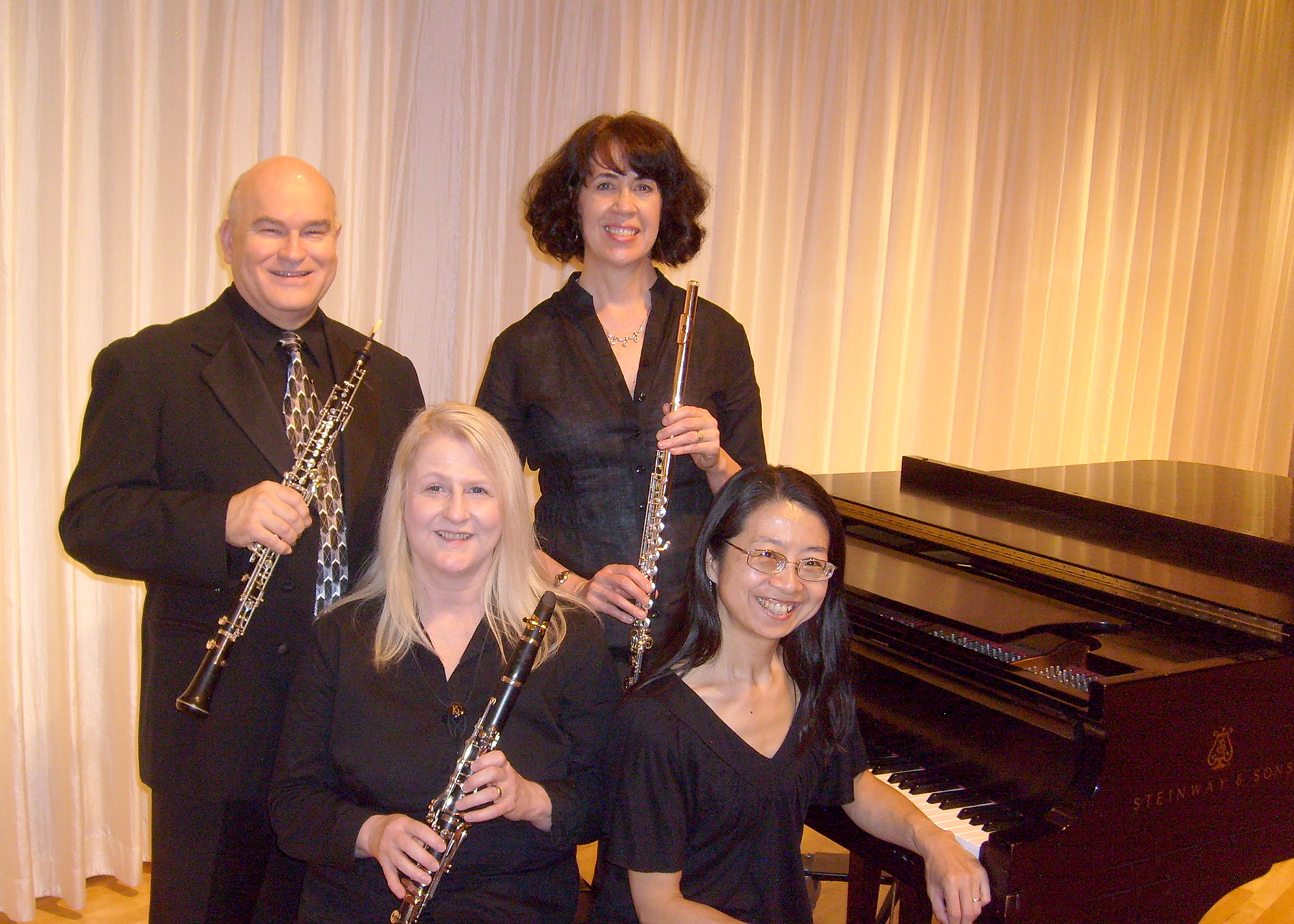 The wind and piano ensemble Eclipse, featuring (from left) Gerald Warlick, Jenny Rucker, Natalie Syring, and Miho Fisher will perform a concert at 7:30 p.m. Sept. 16 at the UCO Jazz Lab, 100 E. Fifth Street in Edmond.