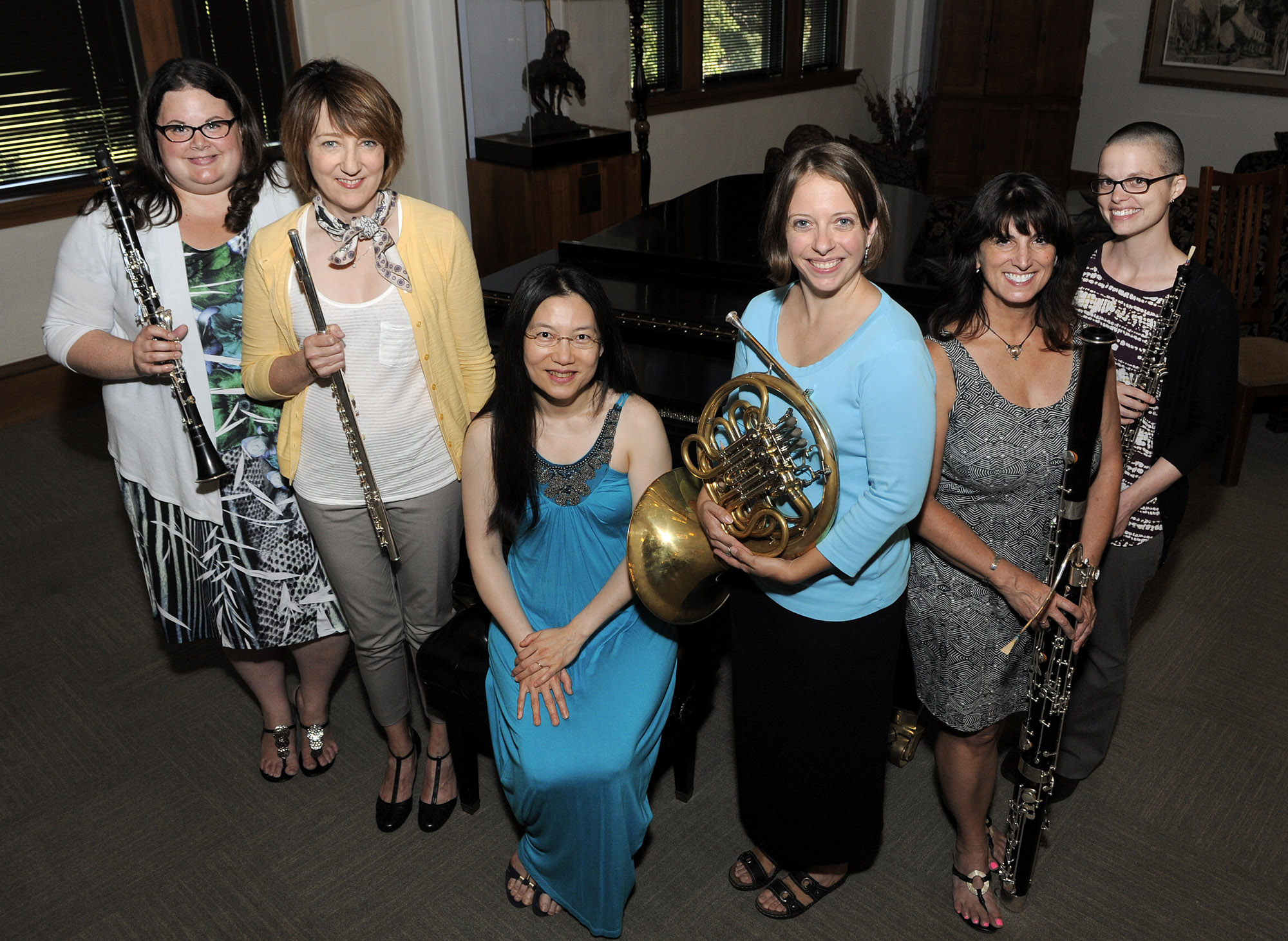 UCO faculty members (from left) clarinetist Dawn Marie Lindblade, D.M.A., flutist Emily Butterfield, D.M.A., pianist Chindarat Charoenwongse-Shaw, D.M.A., horn player Peggy Moran, D.M., bassoonist Lori Wooden, D.M.A., and oboist Kadee Bramlett will kick off the 2014-215 season of the Faculty Artist Concert Series with a performance at 7:30 p.m., Sept. 2.