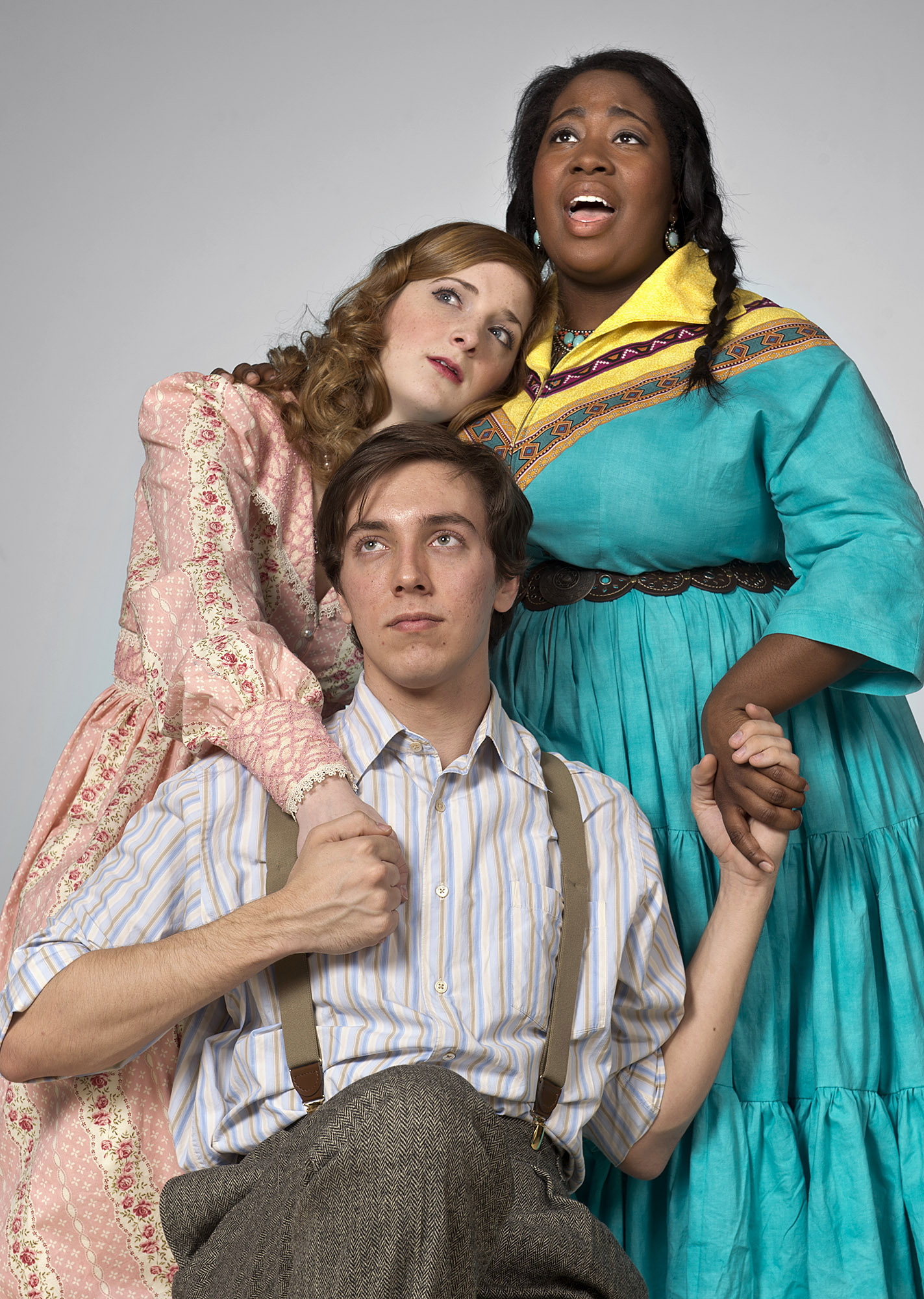 "The UCO Musical Theatre Division will present Truman Capote's ""Grass Harp"" Feb. 28 – March 3 at the UCO Jazz Lab.  Central students featured in the production include (from left) Haley Jane Schafer as ""Dollyheart,"" William Herndon as ""Collin"" and Jaleesa Beavers as ""Catherine."""