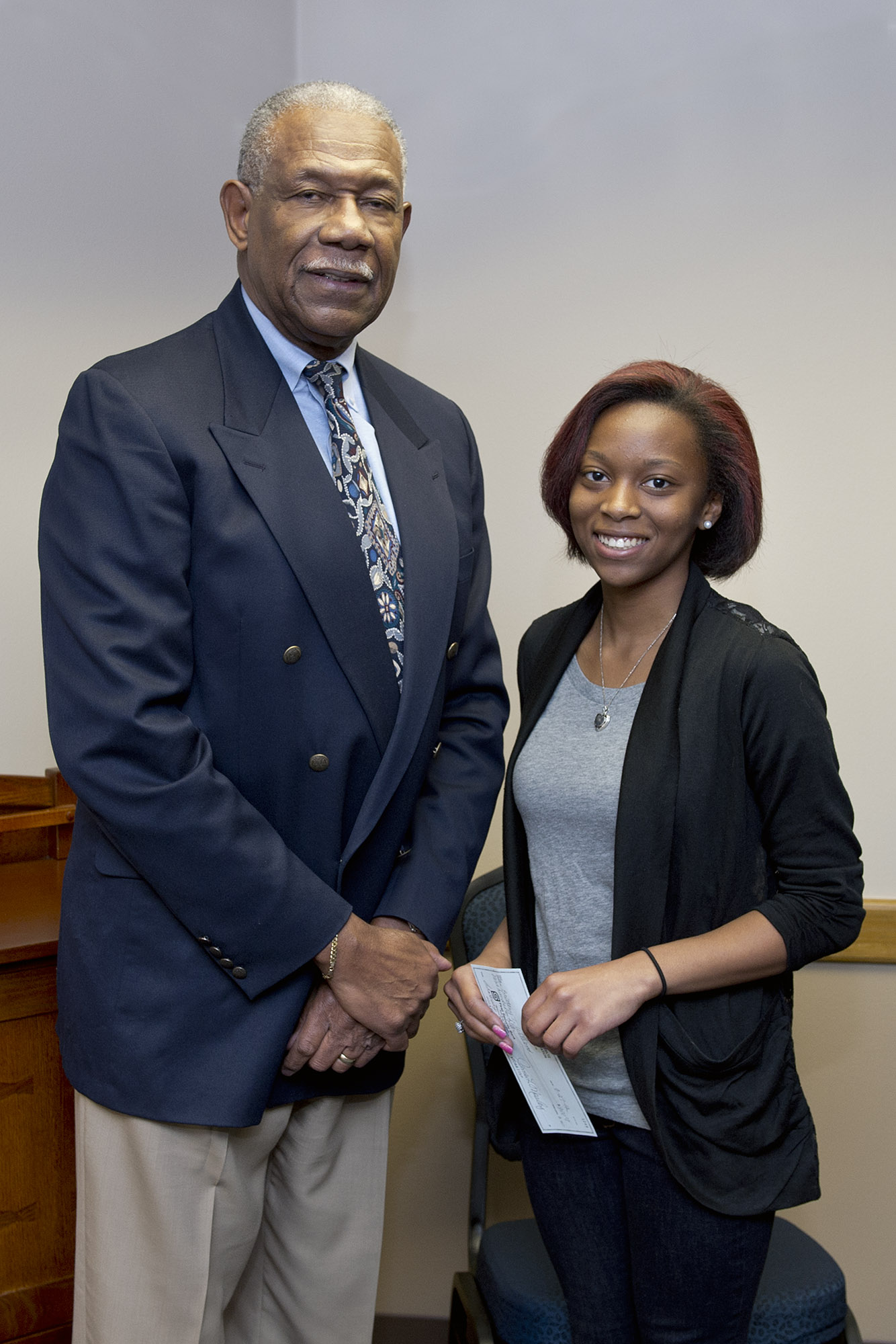 University of Central Oklahoma sophomore Brittany Williams received a $900 scholarship from the Wyatt F. and Mattie M. Jeltz Scholarship Foundation.  Dr. James Mosley, the Jeltz Foundation chairman, presented the scholarship during a recent visit to the Central campus.