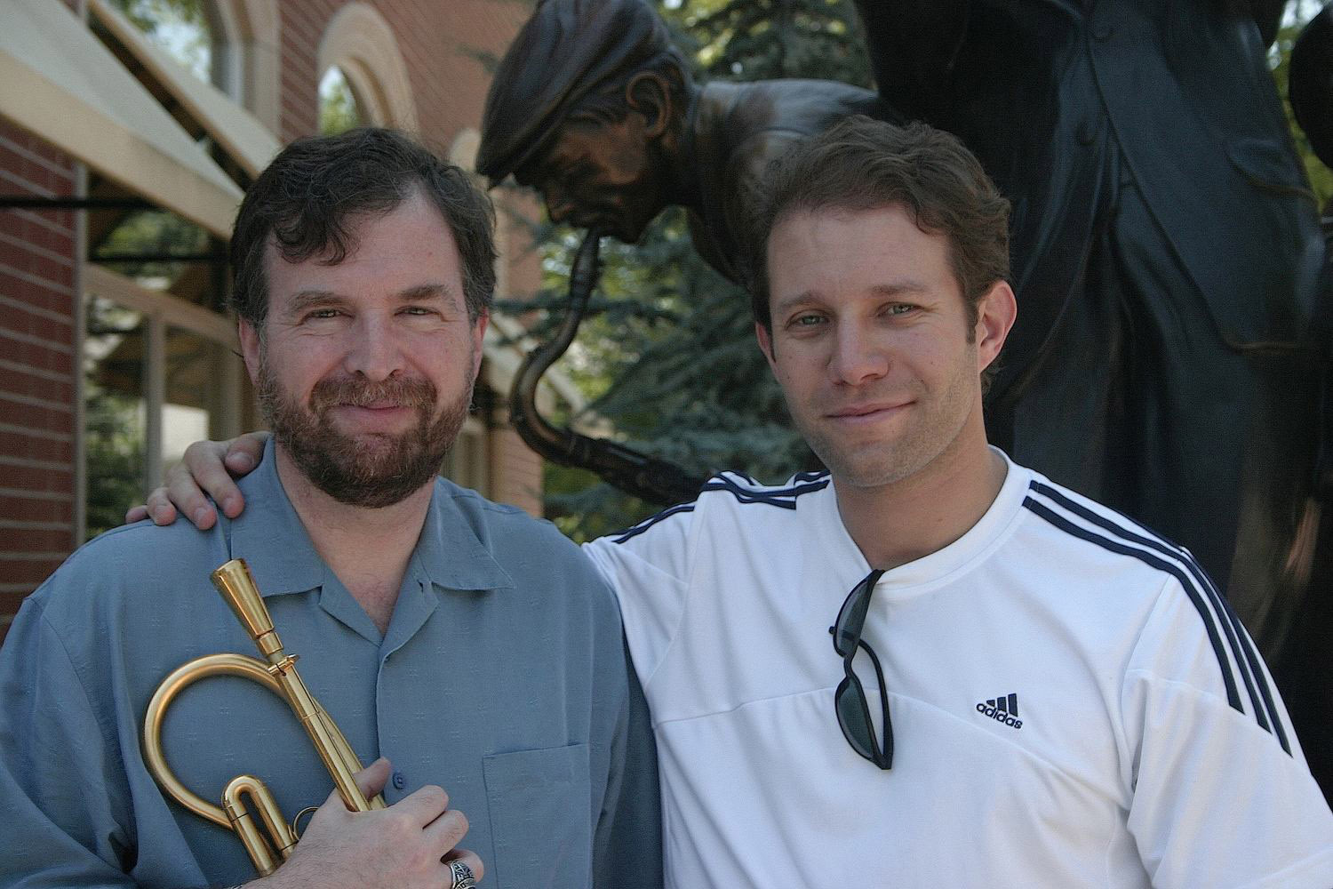 "UCO professor Jim Klages (left) and Sam Karp, director and producer of ""Healed: Music, Medicine and Life with MS."""