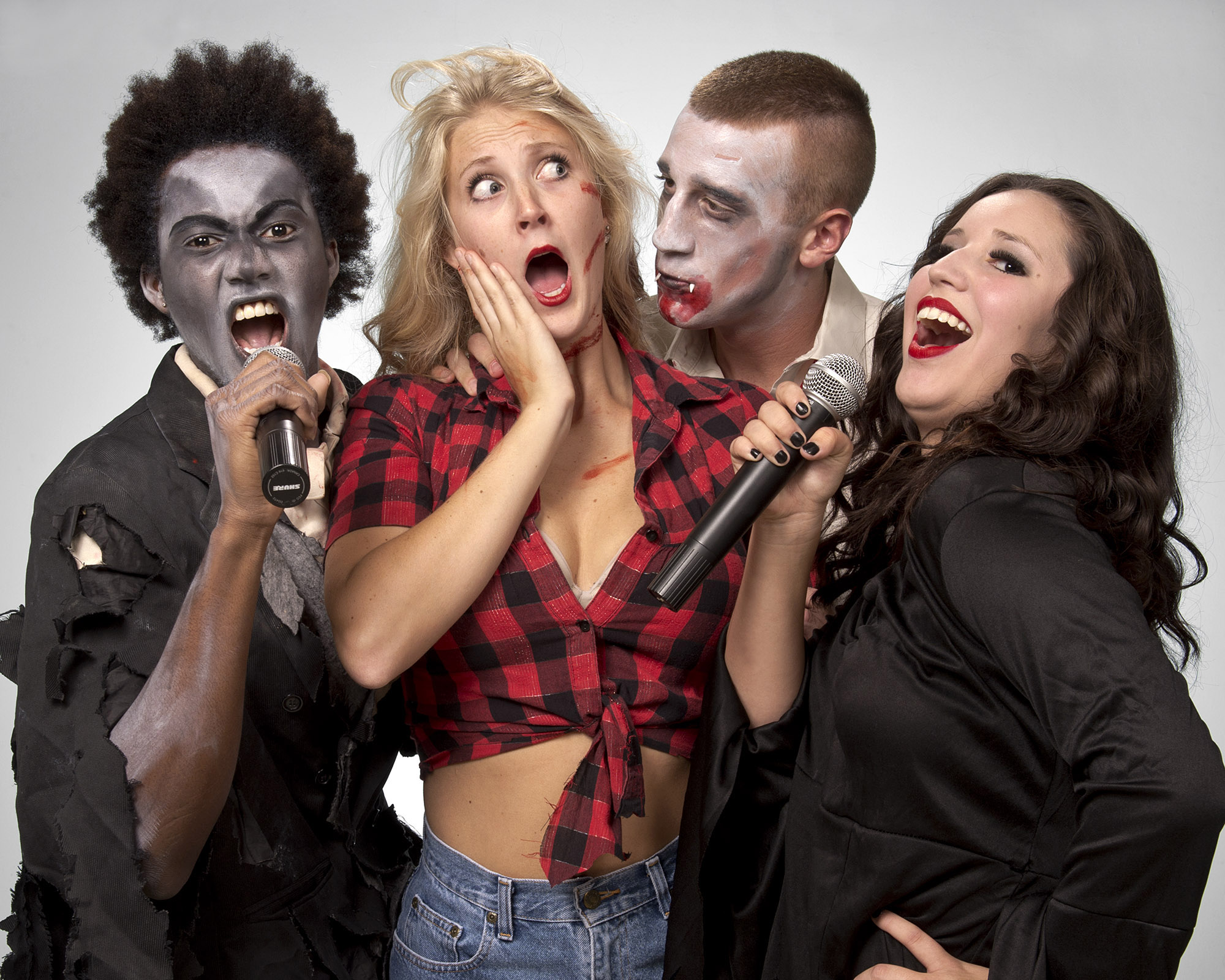 "University of Central Oklahoma musical theatre majors (pictured from left to right) Willie Hill, Annie Michelle Guy, Duncan Barrett Brown and Liz Valdez star in ""Macabret: A Spooktacular Halloween Revue."""