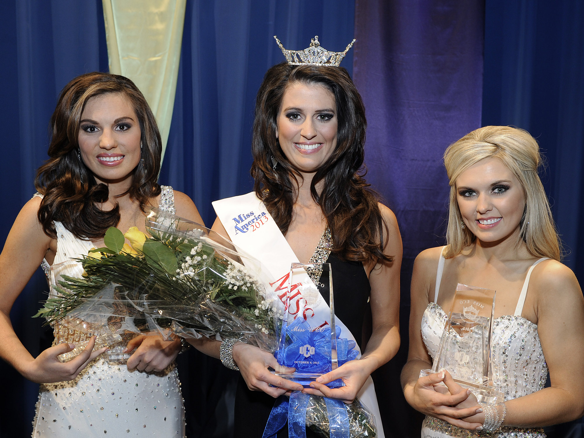 Allora Herrin (center), a senior from Blanchard, won the Miss UCO 2013 crown at the University of Central Oklahoma's annual scholarship pageant Oct. 6, with Autumn Circle (left), a sophomore from Blackwell, nabbing first runner-up and Ashleigh Hamil (right), a sophomore from Sand Springs, getting second runner-up.
