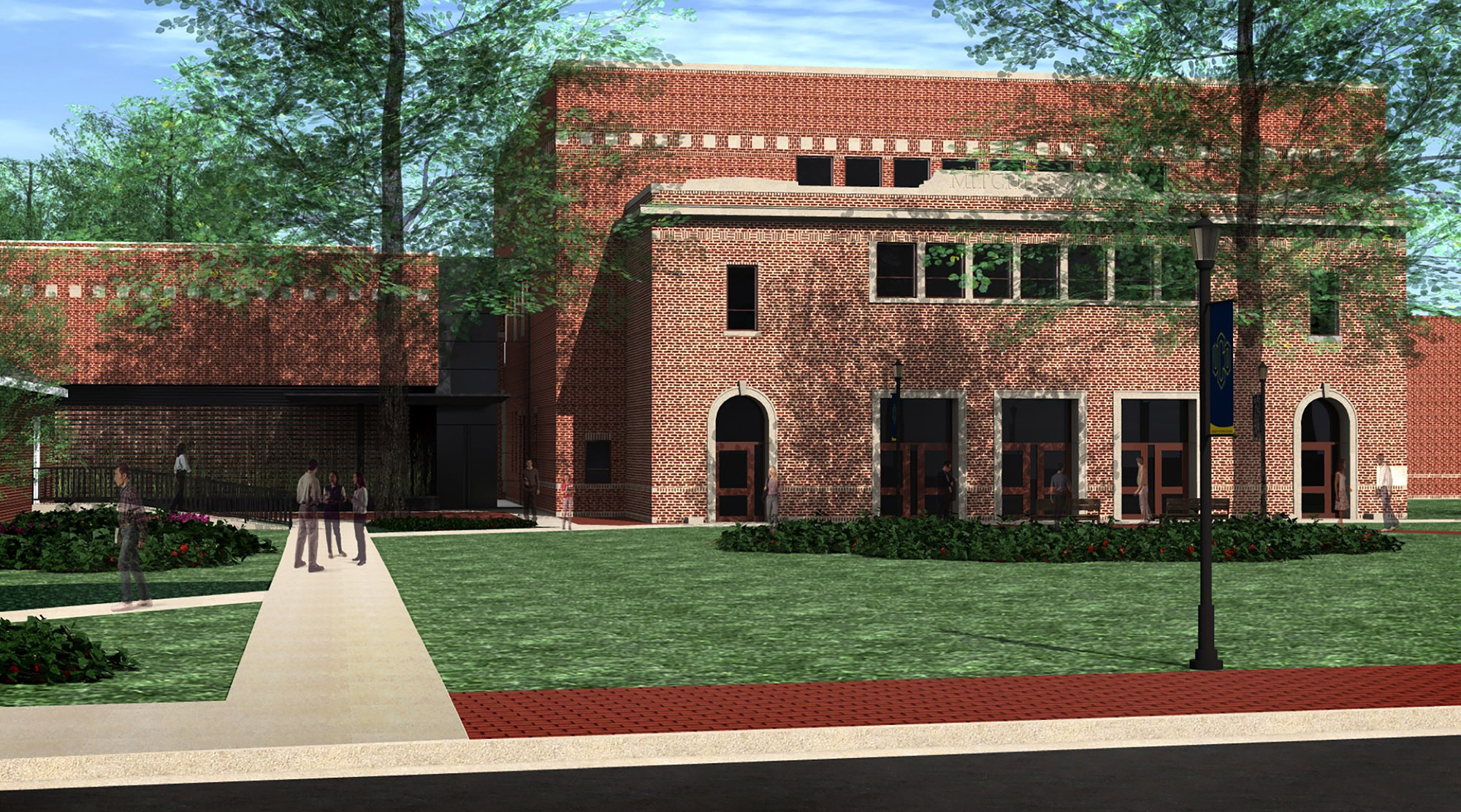 """A rendering shows the planned expansion of the University of Central Oklahoma's Mitchell Hall Theatre. The community can tour the historic building and learn more about the project and the Build Mitchell Hall campaign at """"Vision to Legacy: An Evening with Rand Elliott"""" March 27."""