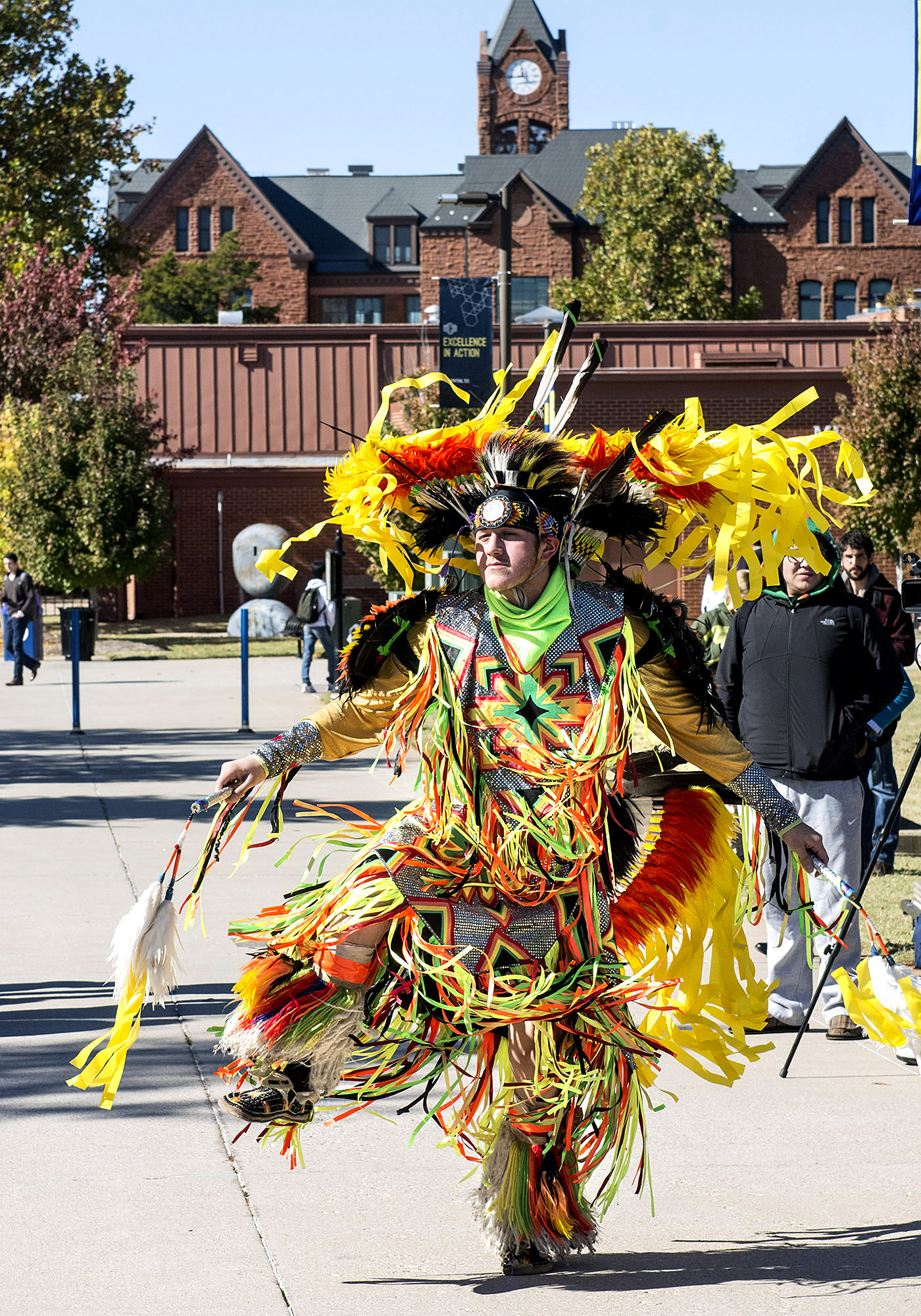 Jared Wahkinney, of Lawton, Okla., and member of the Comanche Nation, performs a traditional dance during the kickoff event for the University of Central Oklahoma's Native American Heritage Month on Thursday, Nov. 7, 2013.