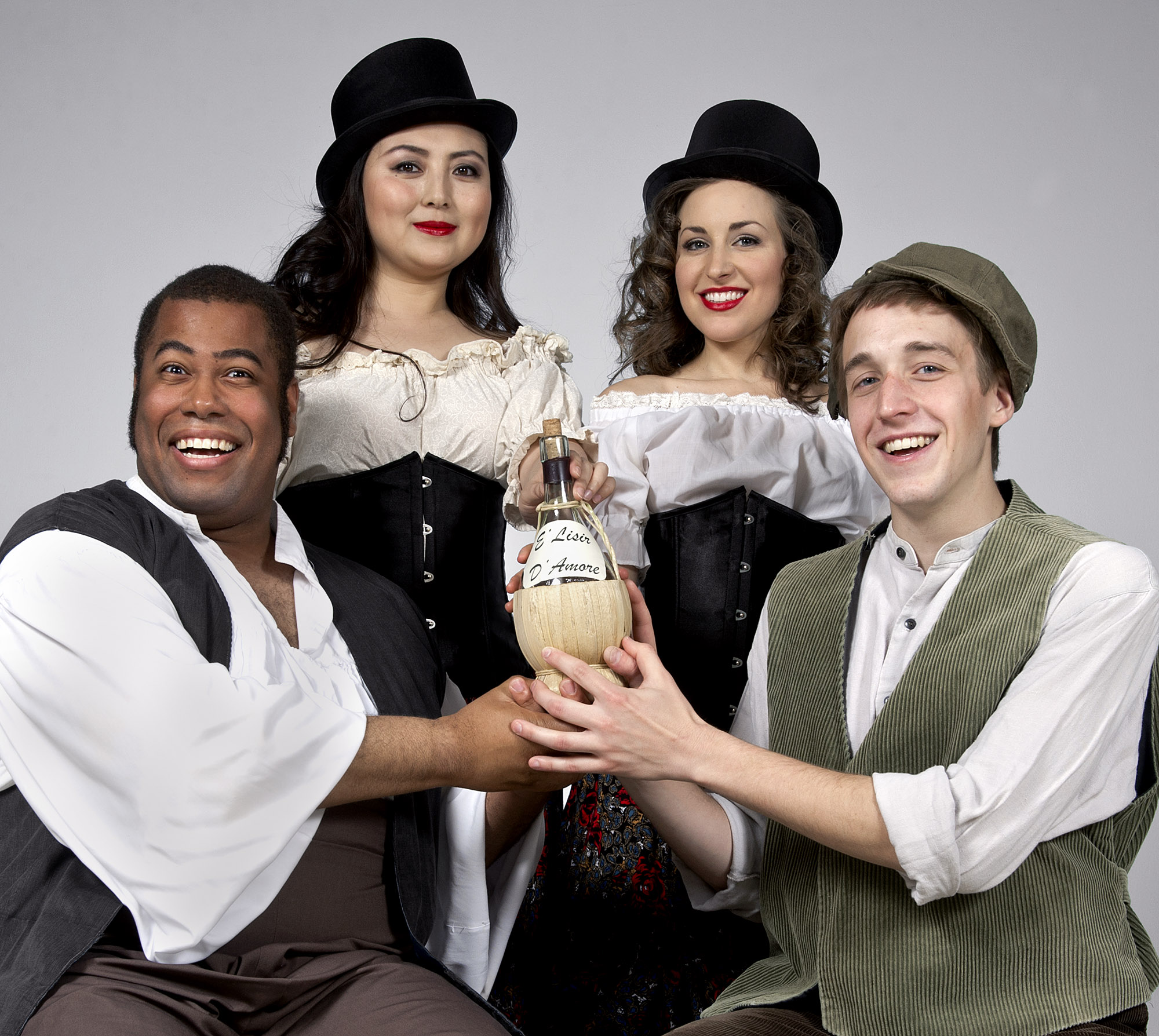 "The University of Central Oklahoma School of Music will present the comedy ""L'Elisir d'Amore"" featuring (pictured from left to right) Central students Steven Myles, Yixuan Han, Tookah Sapper and Griffin LaVictoire at 7:30 p.m. April 24-26 and 2 p.m. April 27 at Mitchell Hall Theater."