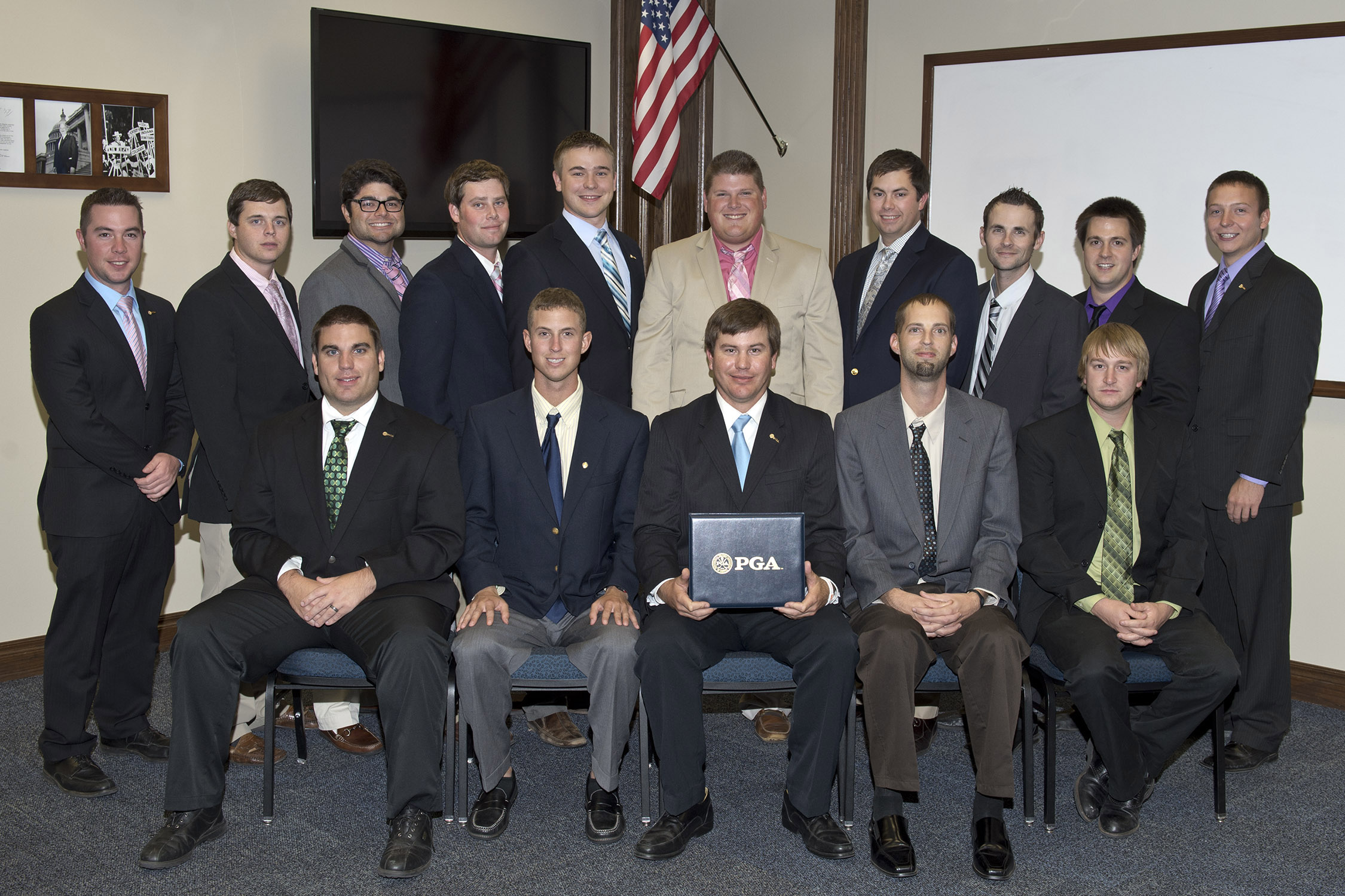 The University of Central Oklahoma's College of Business will graduate its first class of students under Central's new PGA golf management program. The graduates include (back row, left to right) Jeff Elliott, Evan Williams, Jack Daneshmand, William Bones, Jacob Arnold, James Bowler, Jeff Klappenbach, Adam Miller, Bryson Howard, Trent White, (front row, left to right) Jeremey Brewer, Derek Franco, Justin Limon, Max Matthes, and Benjamin Howard.