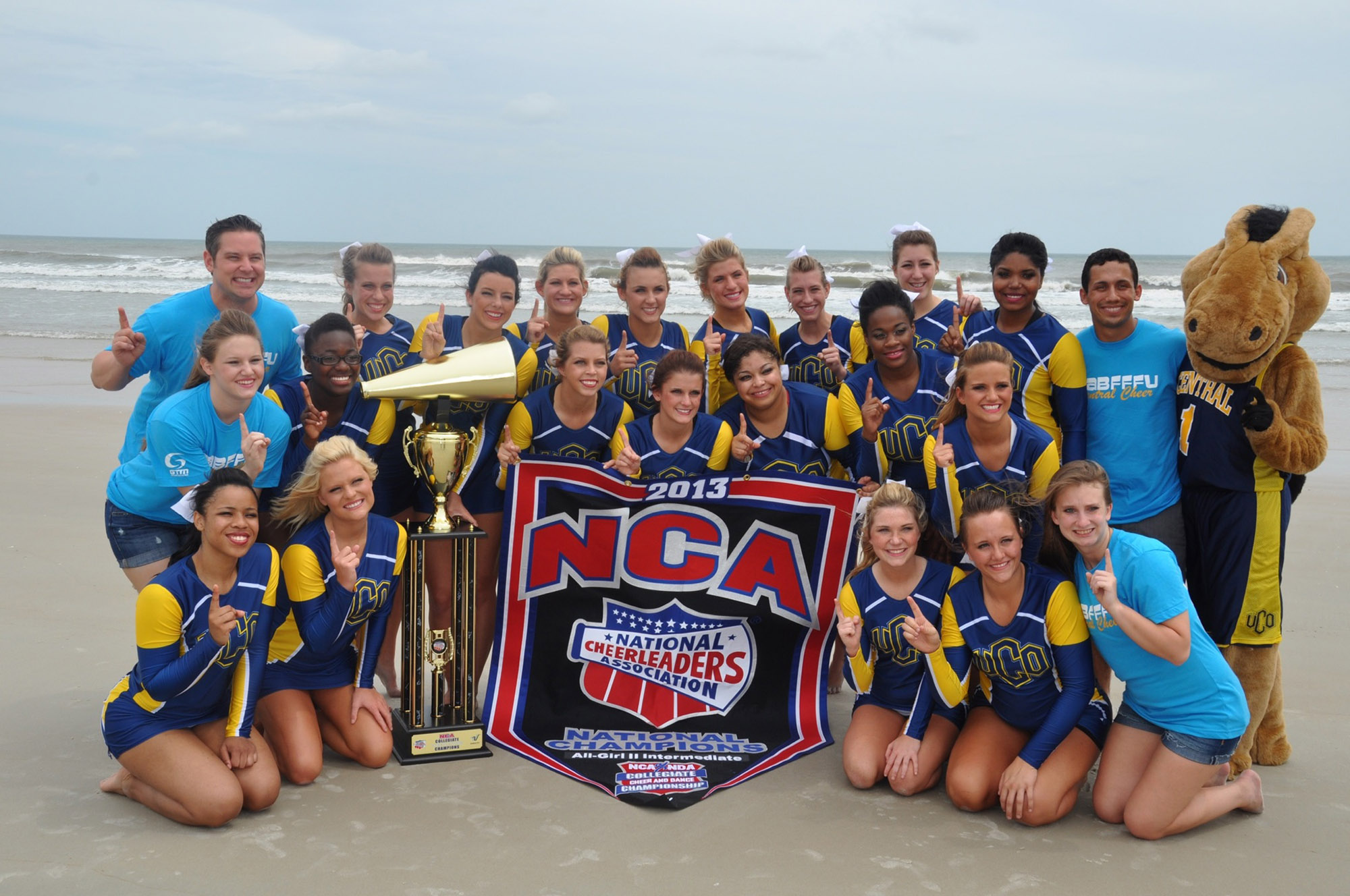 The University of Central Oklahoma all-girls and stunt squads placed first at the 2013 National Cheer Association/National Dance Association Collegiate Championships, held April 10-14 in Daytona Beach, Fla., with Central's pom squad placing third.
