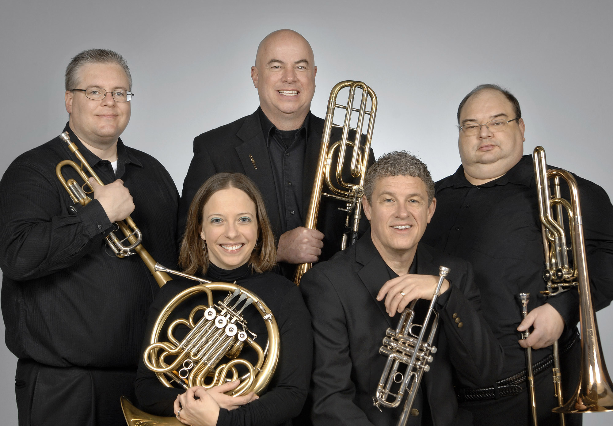 UCO presents the Red Bud Brass Ensemble in concert at 7:30 p.m. Feb. 11 at the UCO Jazz Lab, 100 E. Fifth Street in Edmond.  Pictured from left to right and front to back are Peggy Moran, D.M., Brian Lamb, D.M.A., Ryan Sharp, D.M.A., Jeff Kidwell, Wayne Clark, D.M.A.