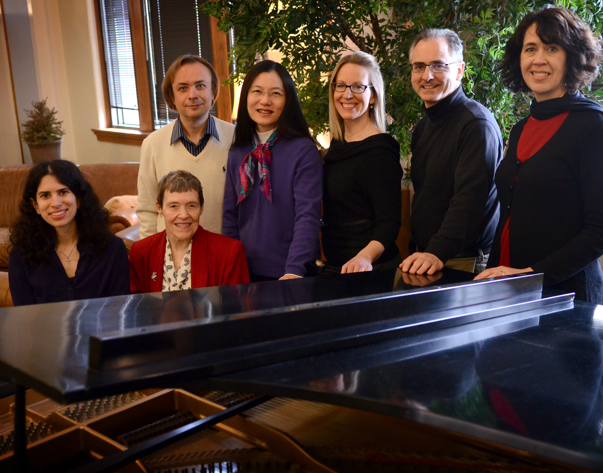 "UCO presents ""Shall We Dance? Music for Two Pianos,"" a performance by piano faculty members (pictured from front to back and left to right) Jennifer Mansour, Linda Owen, D.M.A., Valery Kuleshov, Chindarat Charoenwongse-Shaw, D.M.A., Sallie Pollack, D.M.A., David Forbat, D.M.A., and Natalie Syring at 7:30 p.m. Feb. 18 at the UCO Jazz Lab."