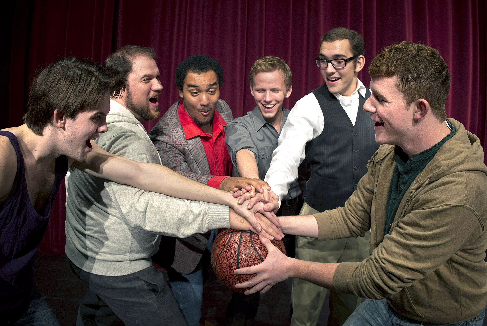 "Pictured are Central music theatre students featured in the production, from left to right: Larz Hoban as ""Ethan,"" Dane Burk as ""Dave,"" Jordan DeBose as ""Horse,"" Caleb Baze as ""Malcom,"" Aaron Gooden as ""Harold,"" and Austin J. Morris as ""Jerry."""