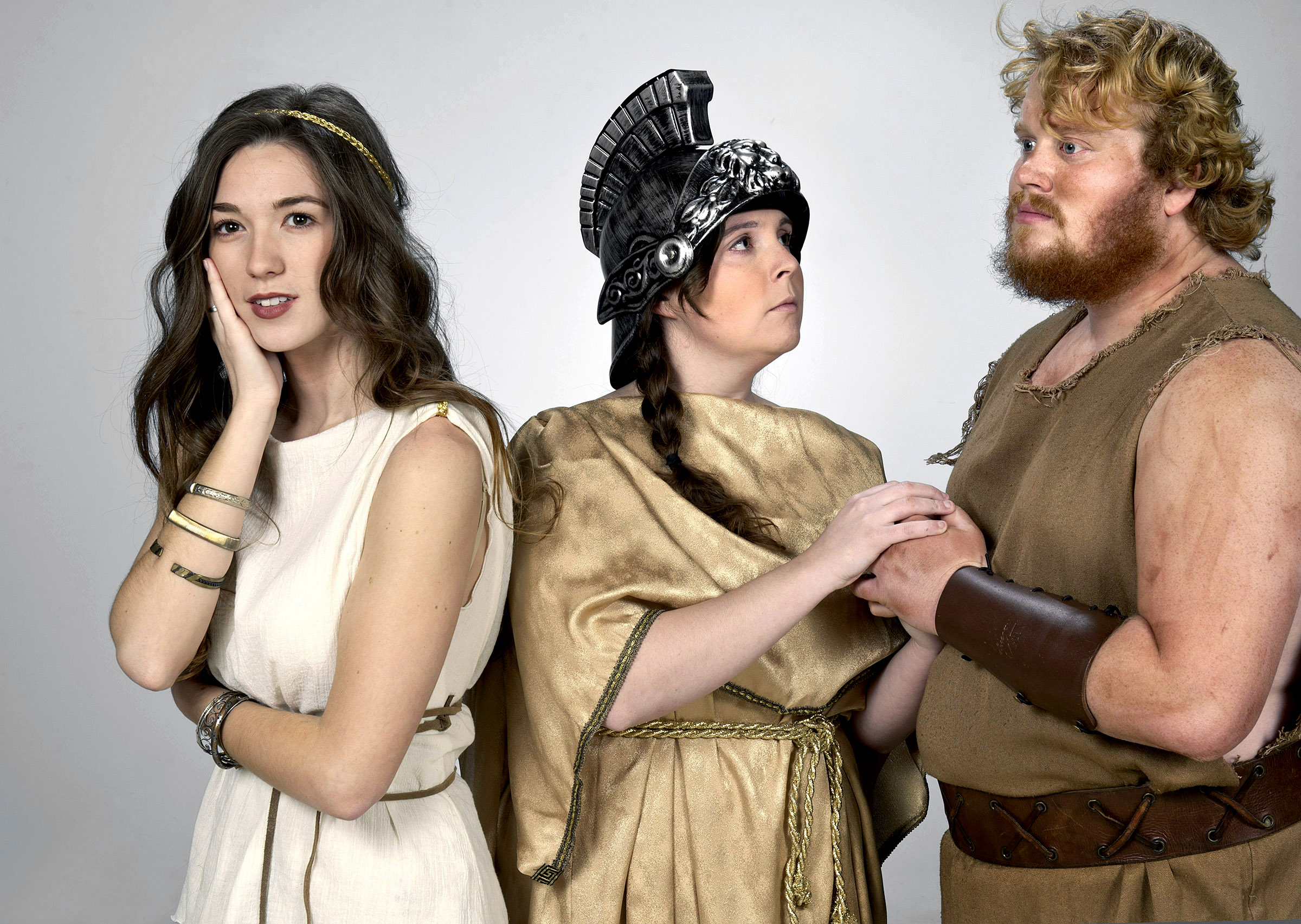 "The University of Central Oklahoma Theatre Arts Department will present a dramatic adaptation of Homer's ""The Odyssey,"" Feb. 11-14 at UCO's Mitchell Hall Theatre. Chandler Gates (right) stars as Odysseus on his journey back home to his wife, Penelope, played by Juliette Lloyd (left), with the help of the goddess Athena played by Michelle Reynolds (center)."