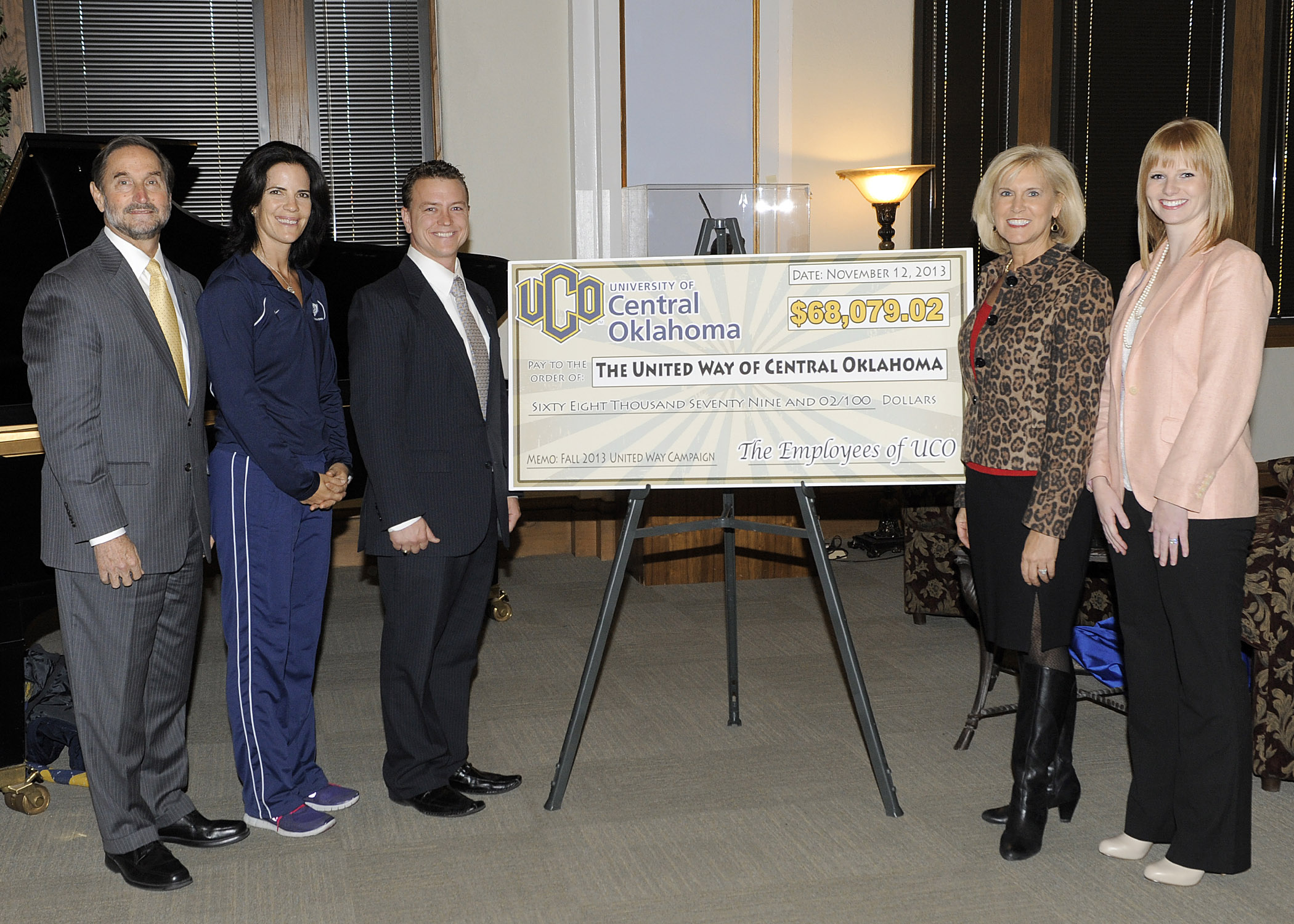 The University of Central Oklahoma on Wednesday announced its 2013 United Way Campaign raised $68,079.02, a 13.5 percent over 2012. UCO President Don Betz, Ph.D.; Martha Brennan, Ph.D., UCO women's track coach and 2013 UCO United Way Campaign co-chair; Rob Howard, director of project management for Student Affairs and 2013 UCO United Way Campaign co-chair; Donna Lawrence, co-chair of the United Way of Central Oklahoma 2013 campaign; and Ashleigh Arnall, Canadian County director and resource development account executive for the United Way of Central Oklahoma were on hand for the presentation of the funds.