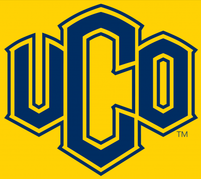 "The letters ""UCO"" in blue on a bronze background."