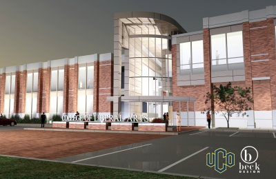 "A rendering of the expected look of the new addition to the Liberal Arts building, with simulated people and cars. A sign is in front of the building that reads ""College of Liberal Arts"" and logos for UCO and Beck Design are on the bottom right of the rendering."