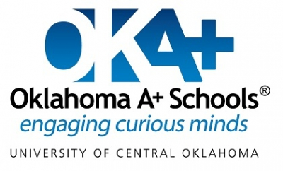 "OKA+ logo with the words, ""OKA+,"" ""Oklahoma A+ Schools,"" the symbol for ""registered,"" ""engaging curious minds,"" and ""University of Central Oklahoma"""