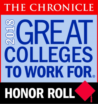 "Logo that reads ""The Chronicle,"" ""2018 Great Colleges to Work For,"" ""Honor Roll"""