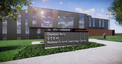 Image of UCO science, technology, engineering and mathematics building with sign that reads Don Betz STEM Research and Learning Center.