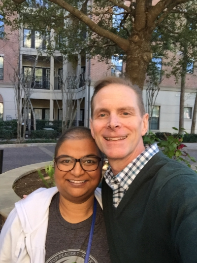 UCO alumna Susan Varghese Thomas is pictured with Jeff York, Chief Sales Officer at Paycom.