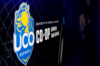 UCO Esports CO-OP logo on a screen